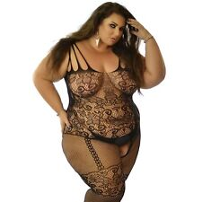 Plus UK 14-28 Fishnet Bodysuit Body Stocking Sexy Lingerie Underwear Corset