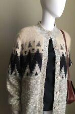Vintage Fair Isle Mohair Cardigan Lined Sweater - L XL - Bohemian