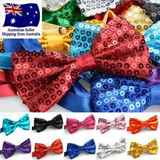 Glitter Sequin Clip-on Bowtie Men Women Boys Girls Bow Tie Party Dance Costume