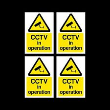 CCTV Sign, Sticker Pack of 4 - 200mm x 300mm (A4) - Security, Camera - (MISC11)