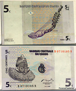 Congo Billete Nuevo 5 Céntimos Arpa Zande Pick81 Antiguo Zaire Suku Máscara 1997