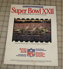 """1988 SUPER BOWL XXII """"22"""" (BRONCOS vs REDSKINS) Official Home Viewers Guide"""
