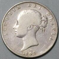 1842 Victoria 1/2 Crown Great Britain Silver Coin (20040301C)