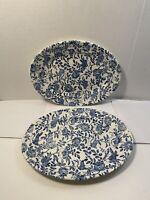 "Set of 2 Churchill Blue Peony Chintz ~ 12 ½"" Oval Serving Platter ~ England"