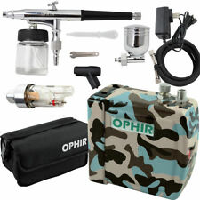 OPHIR Airbrush Compressor Kit Air Brush Set & Bag for Body Paint Tattoo Hobby