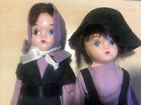 "2 Vintage Amish Souvenir Boy & Girl Dolls, Vintage and Rare in Purple 5"""