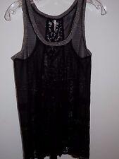Free People Lace Mini Dress / Tunic Length Tank Crochet Trim Black S EUC