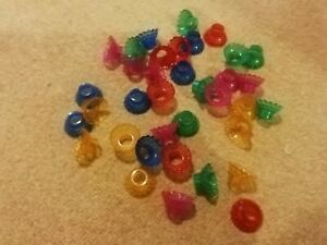 VINTAGE CHRISTMAS COLOURED FLOWERED FAIRYLIGHT REFLECTORS 36 IN TOTAL PLASTIC