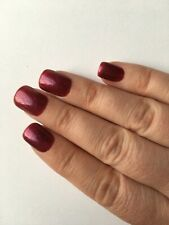 **Hand Painted Press On/False Nails Dark Red Glitter Polish Short Square*