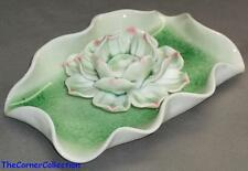 PRETTY CERAMIC GREEN LOTUS FLOWER on LILY PAD DESIGN INCENSE HOLDER
