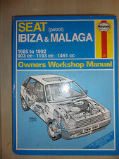 SEAT IBIZA & MALAGA HAYNES WORKSHOP MANUAL Inc GL & SXi 1985-1992 85-92