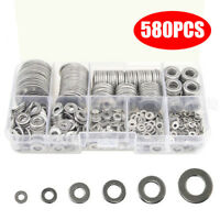 580pcs 304 Stainless Steel Flat Washers Kit For M2 M2.5 M3 M4 M5 M6 M8 M10 M12
