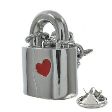 3D Chained Heart Padlock Metal Pin Badge love valentines padlock heart AJTP128