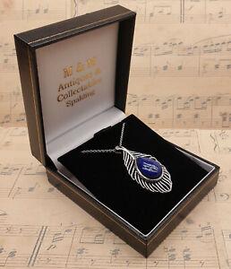Vintage 925 Sterling Silver & Large Blue Lapis Lazuli Pendant Necklace with Box