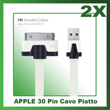 2X Cavo Dati PIATTO PER APPLE 30 PIN - Iphone 3 3G 4 4S iPad Ipod