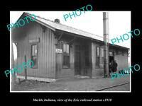 OLD 6 X 4 HISTORIC PHOTO OF MARKLE INDIANA ERIE RAILROAD STATION c1910