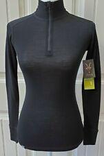Ibex Womens Woolies 1 Quarter Zip Neck Sz Xs Black Long Sleeve Base Layer
