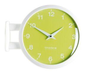 Modern Art Design Double Sided Wall Clock Station Clock Home Decor - MPastel(GR)
