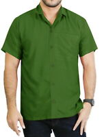 "LA LEELA Rayon Loose Camp Party Men's Shirt Olive Green Medium | Chest 40"" - 44"""