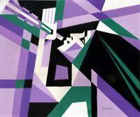 """Expressionist Anatoliy Chudinovskikh """"Musikerin violett"""" Acryl Papier 60x50 cm"""