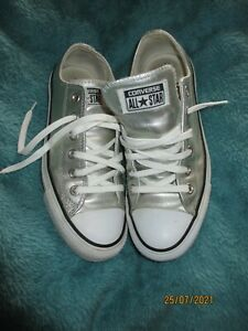 silver leather all star converse trainers 5 low tops