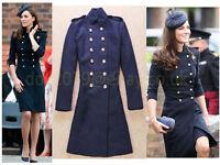 Kate Style Navy Blue Wool Blend Long Ankle Belt Military Coat Jacket 8 10 12 14
