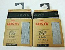 Levis Mens Cotton Stretch Boxer Briefs 2 pack 4 Total Black Grey Medium NWT NR