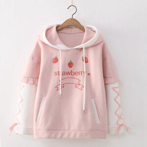 Kawaii Clothing Ropa Harajuku Strawberry Fleece Hoodies Sweatshirt Pullover Coat
