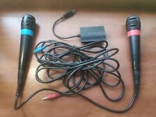 Wired Official Singstar Microphones + Adapter set | PS2 PS3 PS4 | USED | NO GAME