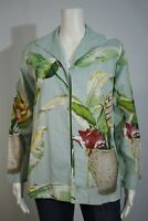 Kensington Lane Misses SMALL Hawaiian Tropical Floral Beaded Open Front Jacket