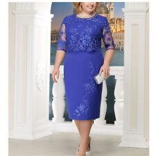 Plus Size Women Retro Formal Party Dress Floral Lace Half Sleeve Midi Dress12-24