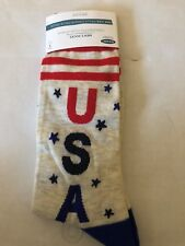 New Old Navy Mens Crew Socks Says USA With Stars & Stripes One Size NWT