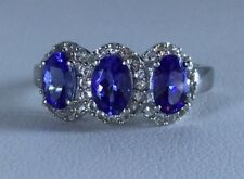Size 8 AA Tanzanite & White Topaz Sterling Silver Ring TGW 2.32 Carats.