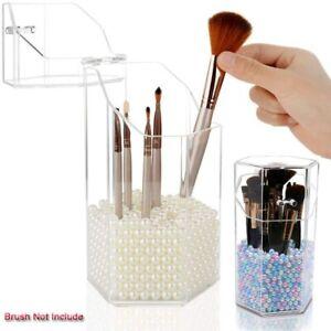 Makeup Case Brush Cosmetic Organizer Storage Box Clear Holder Dustproof+Pearls