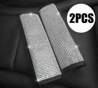 2PCS Bling White Diamond Car Accessories Seat Safety Belt Shoulder Cover pad