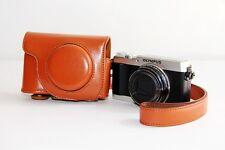 Brown camera leather case bag for Olympus SH-1 16 MP Digital Camera Silver Black
