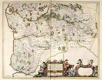Map Antique 1654 Scotland Blaeu Kirkcudbright Large Replica Canvas Art Print