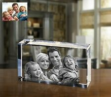 Personalized Glass Photo Laser Engraved Block Crystal Couple Anniversary Gift