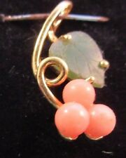 Pink Coral Round /Jade Leaf Gold Plated Pendant 1pc