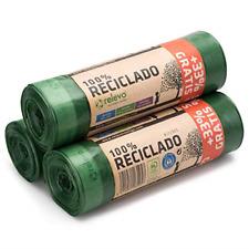 Relevo 100% Recycled Bin Liners, Heavy Duty 30L, 60 Bin Bags