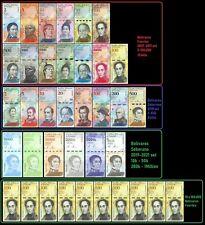 Venezuela Full Set 2-100,000 Bolivares, 2-500 / New 10k-1000k +10 X 100k -37 PCS