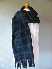 Green and blue tartan blanket scarf shawl pashmina in Black Watch Tartan fleece