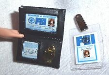 ACCESSORY ~ BARBIE DOLL DANA SCULLY FBI BADGE & I.D. TAG MINIATURES FOR DIORAMA