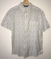 Mens White Pattern Shirt M Salt Valley <NZ957