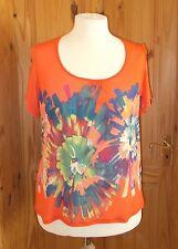 PER UNA M&S coral orange teal floral stretch chiffon shortsleeve tunic top 16 44