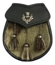 Mens Scottish Kilt Sporran Half Dress Original Seal Skin Thistle Crest Antique