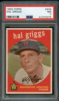 1959 Topps BB Card #434 Hal Griggs Washington Senators PSA NM 7 !!
