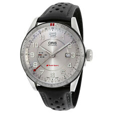 Oris Artix Audi Sport GMT Automatic Silver Dial Black Leather Mens Watch