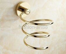 Gold Color Brass Wall Mounted Hair Dryer Holder Bathroom Accessory fba620