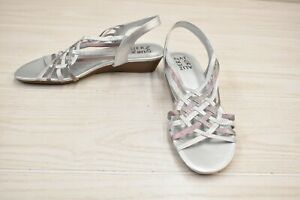 Naturalizer Remix Wedge Slingback Sandals, Women's Size 8.5W, Silver NEW
